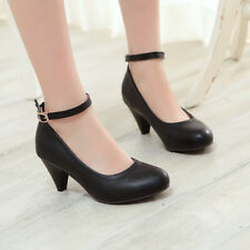 Sweet Mary Jane Womens PU Leather Ankle Strap Pumps High Heel Dress Shoes New