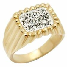 W039 MENS SIGNET SIMULATED DIAMOND 14K GOLD WHITE GOLD RING SALE PINKY PAVE