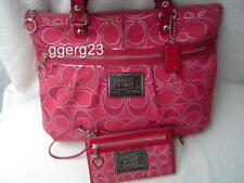AUTHENTIC COACH POPPY RUBY RED METALLIC GLAM TOTE+MATCHING WALLET #15389  GUC