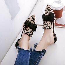 Womens Sexy Slippers Leopard Heels Pointed Toe Sandals Shoes Bownot Flats Mules