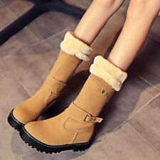 New Fashion Winter Womens Faux Suede Fur Lined Mid-calf Boots Snow Boots