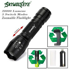 20000LM 5-Mode Zoomable XM-L T6 LED Flashlight Torch Lamp 18650 Battery&Charger