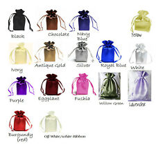 "SATIN bags 3 each 6"" x 9"" draw string bag  color avail wedding jewelry shower"