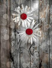 Rustic Brown Red Daisy Flowers Home Decor Farmhouse Wall Art Matted Picture