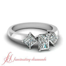 .70 Ct Radiant Cut:Very Good Diamond Three Stone Engagement Ring VS1-H Color GIA
