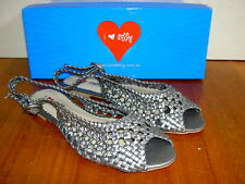 NEW $69 I LOVE BILLY Ladies Sandals Flats Black Pewter Womens Shoes size 38