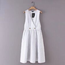 New Womens Decoration Pockets Sleeveless V Neck Striped White Vest Dress SML