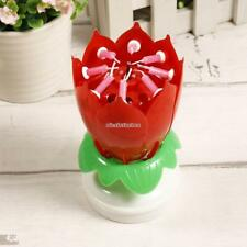New 8 Small Candles Musical Lotus Flower Shape Birthday Cake Candles N98B