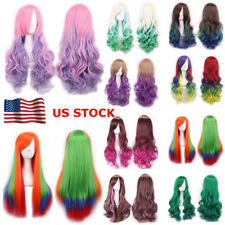 Women Mix Color Rainbow Long Straight / Curly Wavy Hair Full Cosplay Party Wig