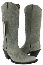 Womens Gray Tall Studded Leather Western Cowboy Cowgirl Boots Rodeo Snip Riding