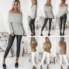Women Ladies Knitted Sweater Tops Blouse Off Shoulder Batwing Sleeve Pullover