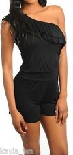 Black One/Off Shoulder Ruffle Front Shorts Romper/Jumper 1 Piece S