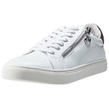 Fabulous Fabs Side Zip Metallic Womens Trainers White Silver New Shoes