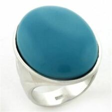 760 SIMULATED TURQUOISE 925 STERLING SILVER RING COCKTAIL BIG WOMENS CLASSY