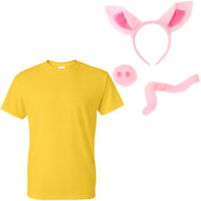 THREE LITTLE PIGS YELLOW FANCY DRESS SET ANIMAL COSTUME OUTFIT ACCESSORY PEPPA 3