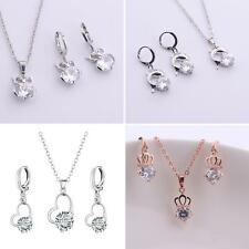 Zircon Pendant Necklace + Earrings Fashion Jewelry Set Women Gift Exquisite