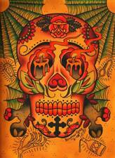 Day of Dead Sugar Skull by Brother Greg Canvas Giclee Tattoo Art Print