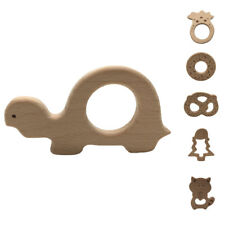 New Wooden Natural Chewie Teether Animal Shape Sensory Toy Baby Teething Ring