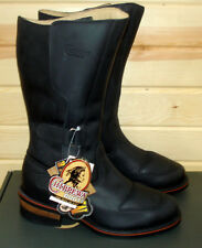 """9.5 E Chippewa 12"""" Rally men's Black Leather Motorcycle Riding Boots - USA made"""