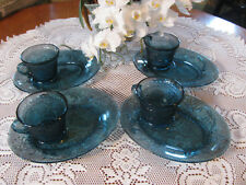 """Set of Four Vintage """"Tiara"""" Indiana Glass  Snack Plates & Cup in Colonial Blue"""