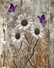 Rustic Home Decor Wall Art Purple Brown Daisy Flowers Wall Art Matted Picture