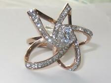 1170 ROSE GOLD STEEL FANCY FLOWER simulated diamond RING STAINLESS STEEL