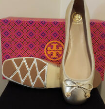 New Tory Burch LAILA Driver Ballet Flats Spark Gold Metallic Leather Shoe 7.5 9
