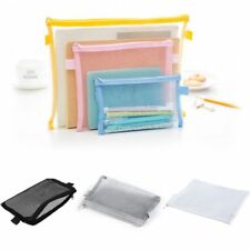 Clear Exam Pencil Case Transparent Simple Mesh Zipper Stationery Bag School