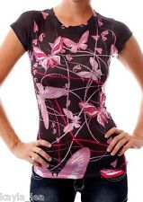 Black Pink Butterfly Rhinestone Sublimation Cap Sleeve Tee Top