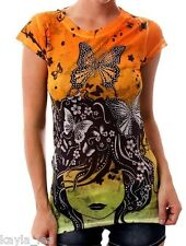 Orange Yellow Ombre Butterfly Rhinestone Sublimation Cap Sleeve Tee Top L