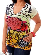 Yellow Red Rose Butterfly Rhinestone Sublimation Cap Sleeve Junior Plus Tee Top
