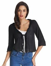 Kate Kasin Lightweight Shrug Bolero For Women Open Front Cropped Cardigan