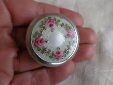 VINTAGE SIGNED WELLS STERLING PINK FLORAL ROSES GUILLOCHE ENAMEL PILL BOX
