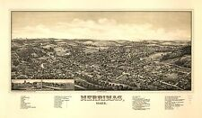 Poster Print Antique American Cities Towns States Map Merrmac Mass