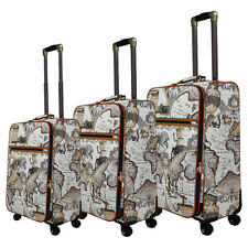Chariot Map 3 Pc Hardside Spinner Set 2 Colors Luggage Set NEW