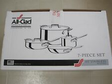 NEW IN BOX ALL CLAD d5 BRUSHED STAINLESS STEEL 7 PIECE COOKWARE SET