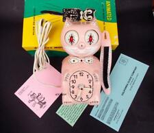 VINTAGE 60s PINK ELECTRIC-KIT CAT KLOCK-KAT CLOCK-ORIGINAL MOTOR REBUILT+ BOX