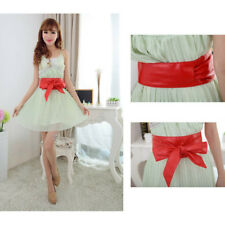 Women's Bowknot PU Leather Wrap Around Self Tie Cinch Waist Corset Band Belt