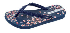 Womens Ipanema Flip Flops Fashion Floral Beach Sandals - Navy - World Shipping