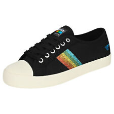 Gola Coaster Rainbow Glitter Womens Black Multicolour Canvas Trainers