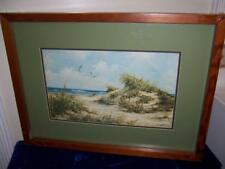 ARTIST SIGNED SUMY AALUND SAND DUNES SEAGULLS SEASIDE PRINT BEAUTIFUL