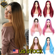 Synthetic Straight Sexy Wig Cosplay Women Ombre Hair Wine Red Long Wigs 28'' US