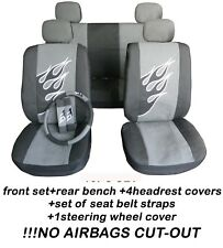 COMPLETE SET CAR SEAT COVERS front and rear FLAMES  + SWC + SBC black-silver