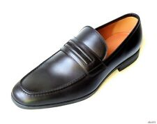 new $625 mens GUCCI black leather velvet stripe tapered moc toe loafers shoes