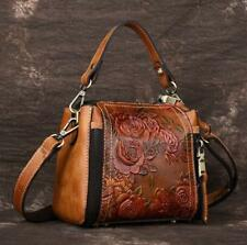 New Vintage Women Genuine Cow Leather Shoulder Bag Embossed Handbag Purse DD