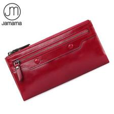 Jamarna Genuine Leather Wallet Women Long Clutch Red Purse Card Holder Coin Wall