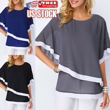 Women's Crew Neck Batwing Sleeve Blouse Tops Chiffon Loose Summer Casual T Shirt