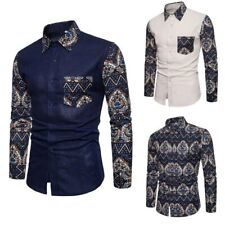 Dress shirt floral men's formal t-shirt long sleeve tops luxury stylish casual