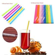 8 16PCS Reusable Silicone Food Grade Drinking Straws with Cleaning Brushes Set