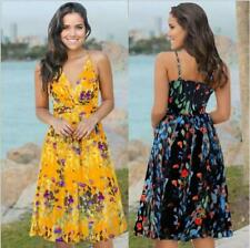 Dress Halter Long Floral Sundress Maxi Boho Sleeveless Party Women Belted Beach